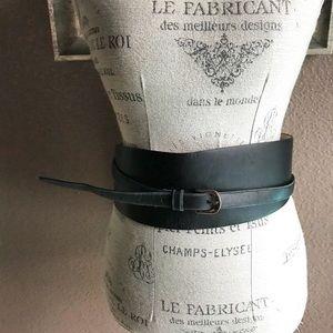 Ann Taylor black leather wrap Obi style belt